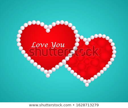 wedding card with two pearl hearts vector illustration stock photo © carodi