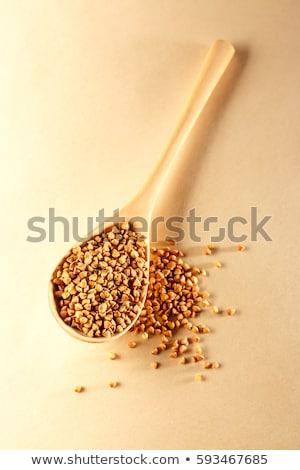 cuchara · de · madera · fondo · cocina · blanco · bordo · cocinar - foto stock © alekleks