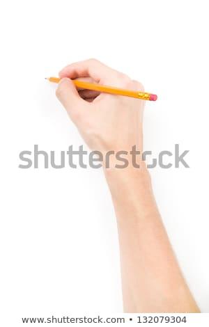 Mężczyzna strony farbują piśmie coś odizolowany Zdjęcia stock © Len44ik