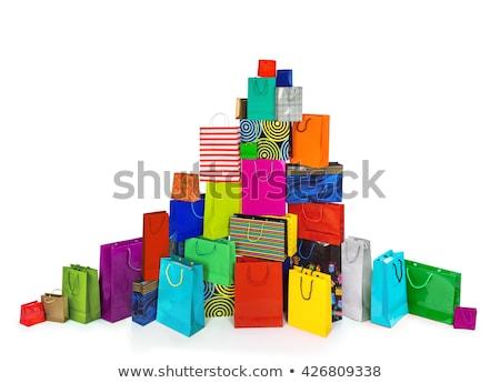 Halom papírzacskók vásárlás nem használt szatyrok Stock fotó © vavlt