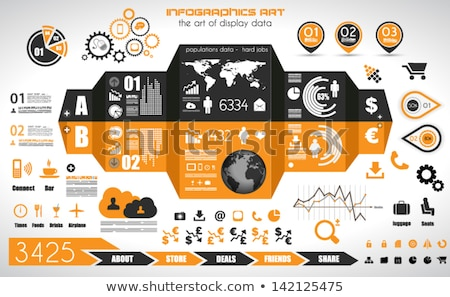 infographic elements   set of paper tags icons stock photo © davidarts