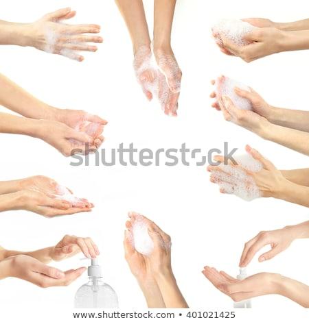 Collage of  woman washing a bathroom Stock photo © pxhidalgo