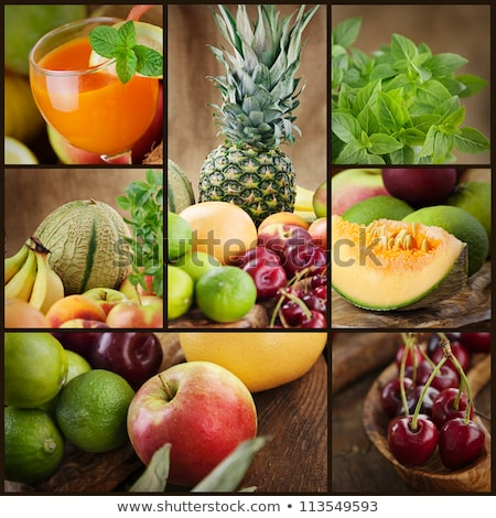 Food colage series. Collage of fresh fruit and vegetables Stock photo © pxhidalgo