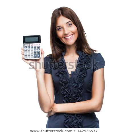 attractive smiling business woman with calculator isolated Stock photo © juniart
