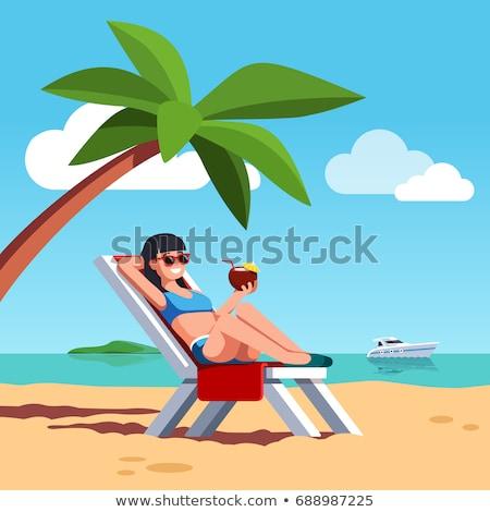 少女 サンベッド セクシーな女の子 リラックス 女性 木材 ストックフォト © epstock