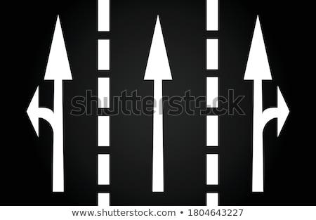 flechas · asfalto · blanco · pintado · negro - foto stock © meinzahn