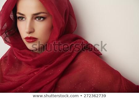 Gyönyörű nő fátyol kezek divat modell fekete Stock fotó © Nejron