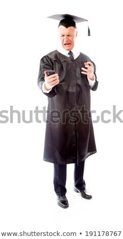 Boos senior mannelijke afgestudeerde schreeuwen mobiele telefoon Stockfoto © bmonteny