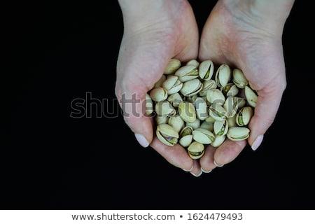 kagyló · fakanál · nyers · pisztácia · diók · öreg - stock fotó © yelenayemchuk