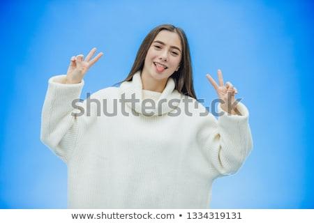 Piękna kobiet szczęśliwie podniesionymi rękami w górę przedsiębiorców Zdjęcia stock © cherezoff