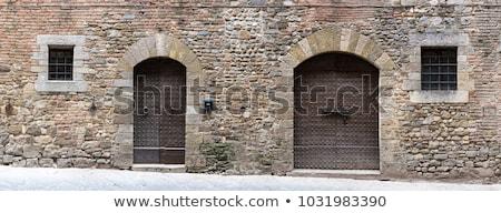 marrom · velho · windows · madeira · parede - foto stock © smuki