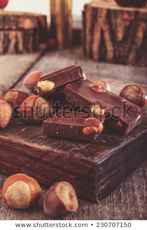 kockák · csokoládé · mogyoró · diók · körül · fából · készült - stock fotó © feelphotoart