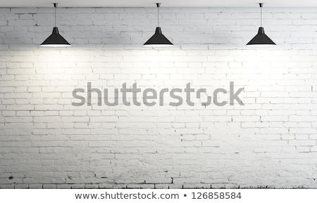 Drie plafond lampen witte muur kamer Stockfoto © stevanovicigor