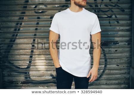 Foto d'archivio: Blu · uomo · tshirt · isolato · bianco · primo · piano