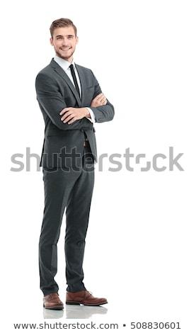 Portret glimlachend zakenman armen gevouwen geïsoleerd Stockfoto © deandrobot