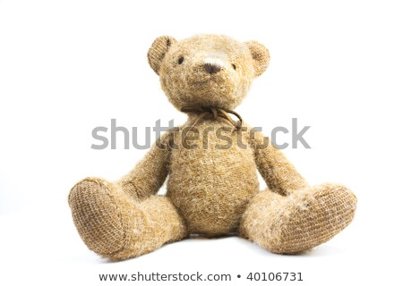 Single sitting teddy bear over white Stock photo © lucielang