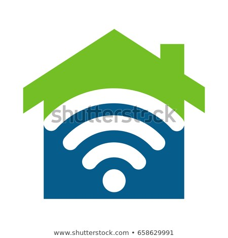 Stock photo: Home with Wireless Network Logo Design