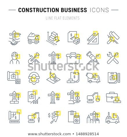 Huis vierkante vector Geel icon Stockfoto © rizwanali3d