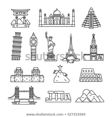 Torre · Eiffel · linha · ícone · vetor · isolado · branco - foto stock © cienpies