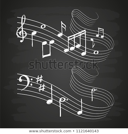 loudspeakers with music note icon drawn in chalk stock photo © rastudio