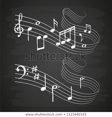 Loudspeakers with music note icon drawn in chalk. Stock photo © RAStudio