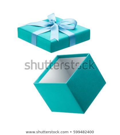 Kék ajándék doboz zöld szalag íj izolált Stock fotó © teerawit