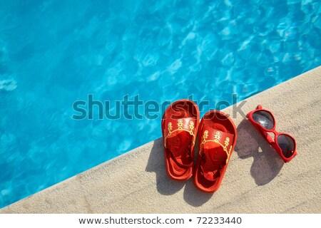 Солнцезащитные · очки · сандалии · Бассейн · копия · пространства · фон - Сток-фото © filipw