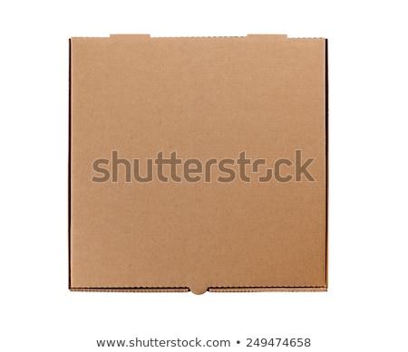 Сток-фото: картона · коробки · пиццы · закрыто · изолированный · красный · контейнера