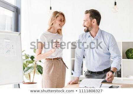 Dwa koledzy mówić patrząc notebooka przedsiębiorców Zdjęcia stock © d13