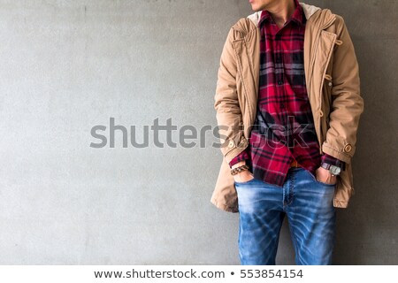 Casual handsome man wearing jeans and plaid shirt Stock photo © stevanovicigor