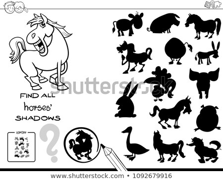 Kids cartoon puzzle - match the shadow Stock photo © adrian_n