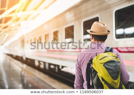 Asia man waiting train Stock photo © cozyta