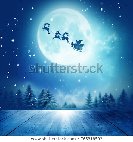 Stockfoto: Vliegen · maan · hout · kerstman · rendier