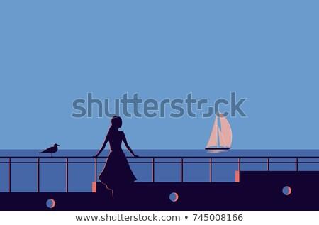 ретро девушки пляж фото женщину Sexy Сток-фото © ssuaphoto