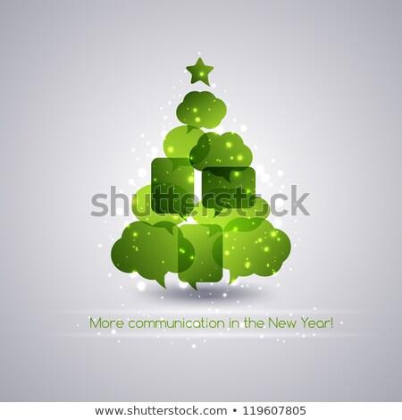 árbol de navidad estrellas chatear burbuja árbol feliz invierno Foto stock © SArts