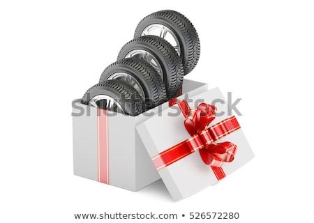 szalag · négy · vörös · szalag · ahogy · ajándék · út - stock fotó © user_11870380