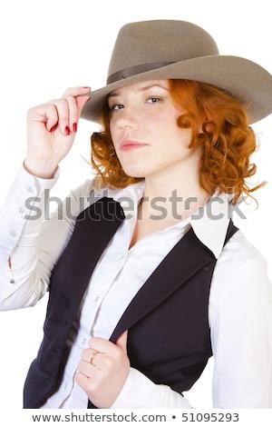 nő · zsebkendő · fehér · papír · háttér · szomorú - stock fotó © elnur