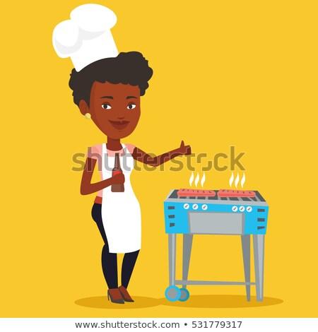 mulher · cozinhar · bife · churrasqueira · caucasiano · alto - foto stock © rastudio