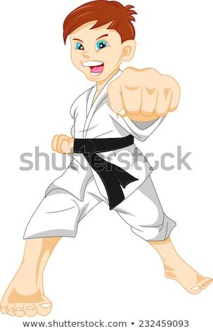 Karate játékos fekete öv középső rész fitnessz Stock fotó © wavebreak_media
