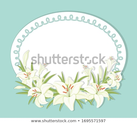 Round frame with space for your text decorated with leaves and ripe bananas. Vector cartoon close-up Stock photo © Lady-Luck