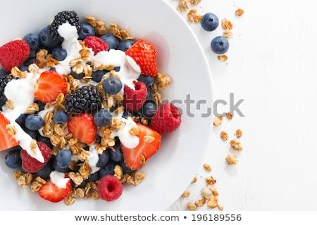 Közelkép házi készítésű természetes zab granola reggeli gabonapehely Stock fotó © artjazz