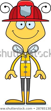 Desenho animado sorridente bombeiro abelha feliz animal Foto stock © cthoman