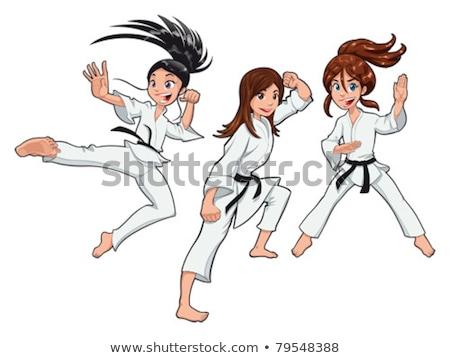 Rajz mosolyog karate nő nő mosolyog Stock fotó © cthoman