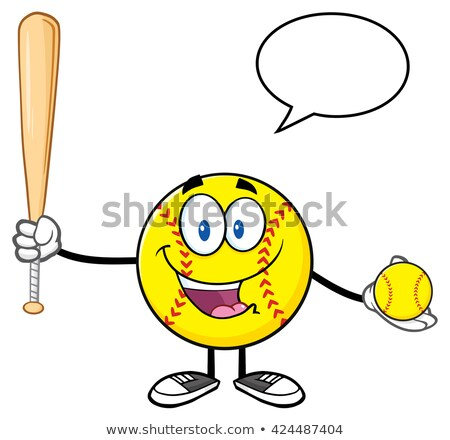 Talking Softball Player Cartoon Character Holding A Bat And Ball With Speech Bubble Stock photo © hittoon