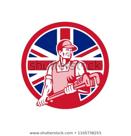 İngilizler tesisatçı İngiliz bayrağı ikon retro tarzı örnek Stok fotoğraf © patrimonio