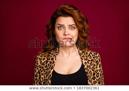 Ritratto paura donna buio i capelli ricci Foto d'archivio © deandrobot