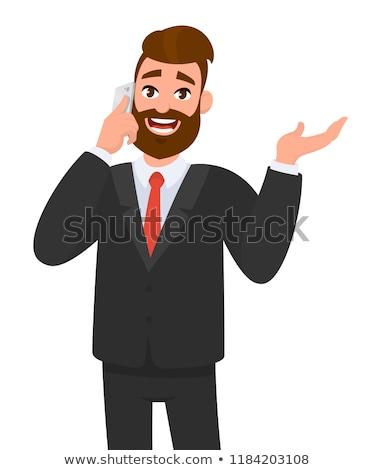 Férfi menedzser gesztikulál telefonbeszélgetés telefon férfi Stock fotó © Minervastock