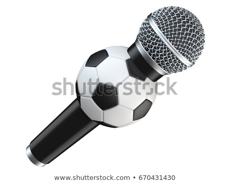 microphone and soccer ball on white background isolated 3d illu stock photo © iserg