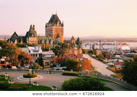 Foto stock: Frontenac Castle In Old Quebec City In The Beautiful Sunrise Light