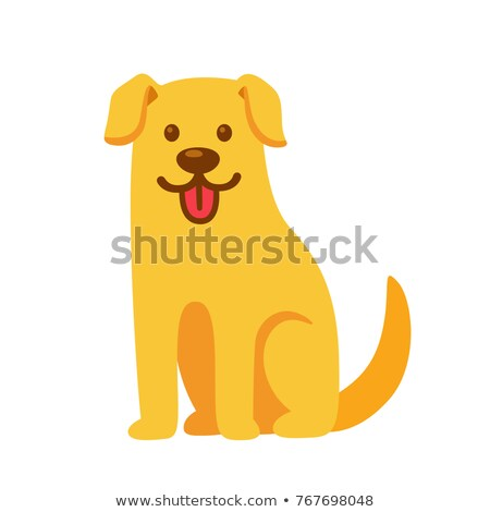 Stock photo: funny yellow dog cartoon animal character